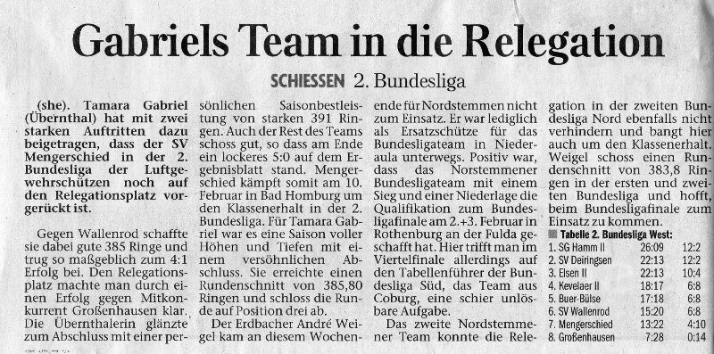 Gabriels Team in die Relegation (Herborner Tageblatt)